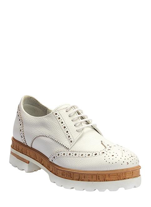 İnci %100 Deri Oxford Ayakkabı Beyaz